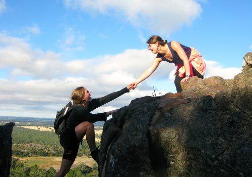 Two students mountain climbing in Australia