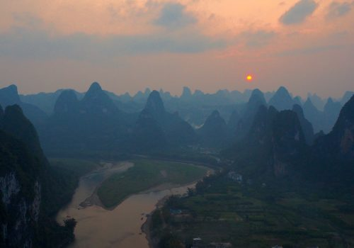 Sunset over mountains in China