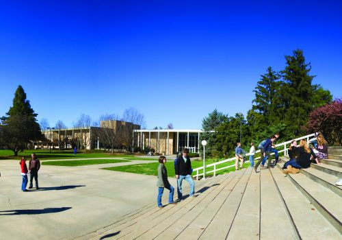 A panoramic shot of the quad at UNC Asheville
